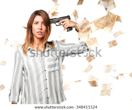 happy young woman suiciding - stock photo
