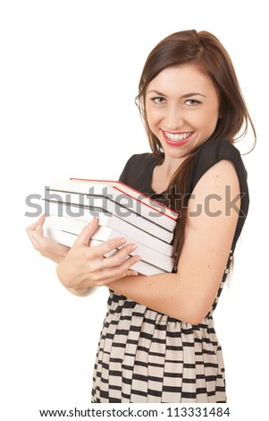 happy young woman with books looking at camera, white background - stock photo
