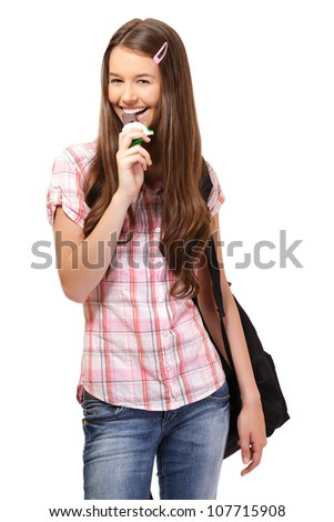 happy young woman with chocolate - stock photo