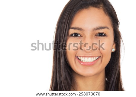 Happy young woman with perfect smile isolated on white background  - stock photo
