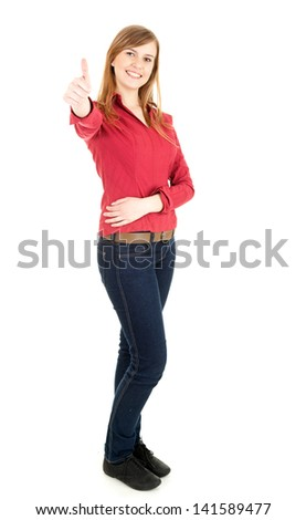 happy young woman with thumb up, full lenght, white background