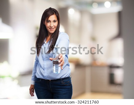 happy young-woman with water-bottle