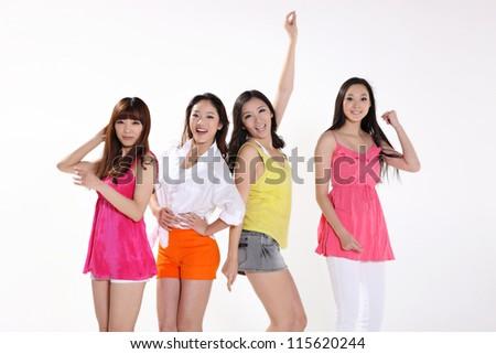 happy young women - stock photo
