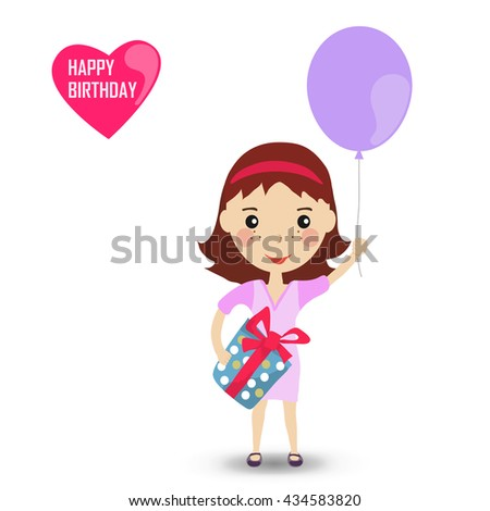 Happygirl with a balloon in purple dress. Happy Birthday card. Cartoon illustration.