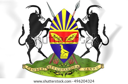 Harare coat of arms, Zimbabwe. 3D Illustration.