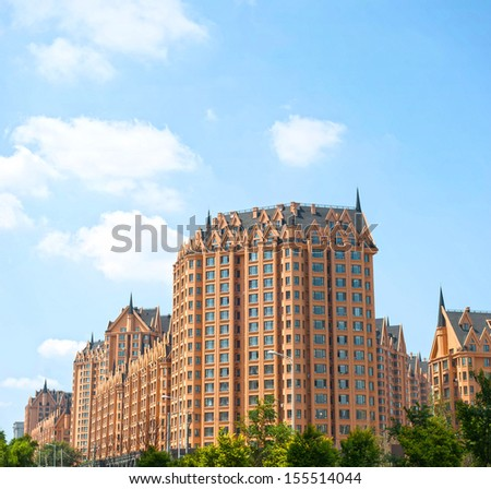 Harbin, China - JULY 14: Urban Residential Areas, located in Qunli new district. July 14, 2013 in Harbin City, China. - stock photo