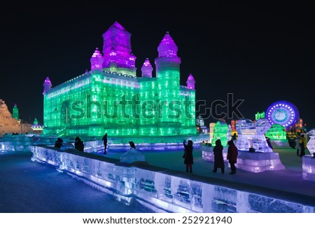 HARBIN-FEB. 13, 2015. International Ice and Snow Sculpture Festival. Famed for its amazingly sculptures and massive replicas of global icons, the event area covers 750,000 sq. meters say organizers. - stock photo