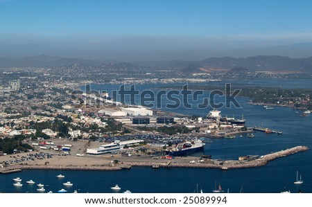 Harbor and Baja ferry dock at Mazatlan, Sonora, Mexico as viewed from the el Faro Lighthouse -  looking southeast Panorama pic 4 of 8 - stock photo