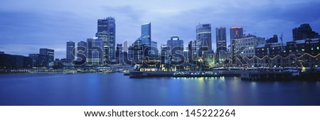 Harbor and Skyline at Twilight - stock photo