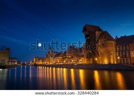 Harbor at Motlawa river with old town of Gdansk in Poland. - stock photo