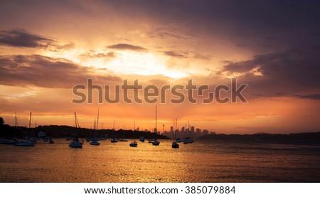 Harbor at sunset - stock photo