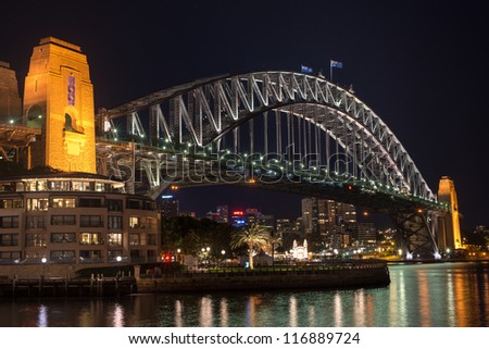 Harbor Bridge at night - stock photo
