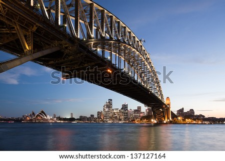 Harbor bridge in Sydney with downtown skyline at sunset. - stock photo