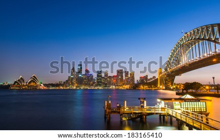 Harbor Bridge, Sydney Opera House, Sydney Harbor - stock photo