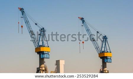 Harbor crane in Hamburg, Germany - stock photo