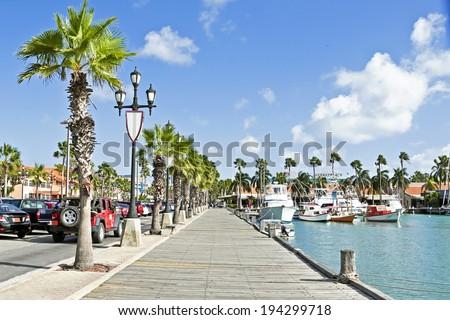 Harbor from Aruba Island in the Caribbean sea - stock photo