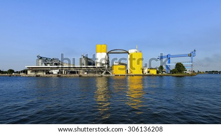 Harbor, Gdansk, Poland. chemical wharf, loading vessel - stock photo