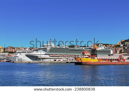 Harbor in Genoa - stock photo