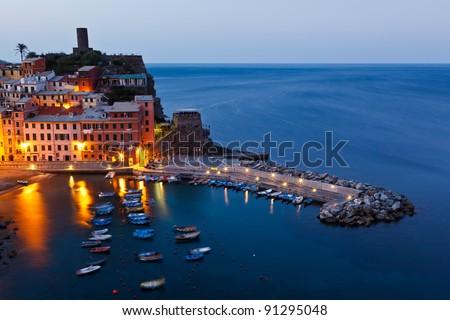 Harbor in Historical Village Vernazza in the Night, Cinque Terre, Italy - stock photo