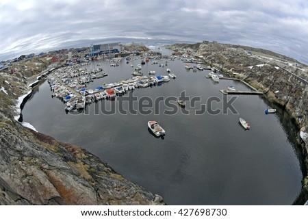 Harbor in Ilulissat, Greenland. Fisheye view of harbor - stock photo