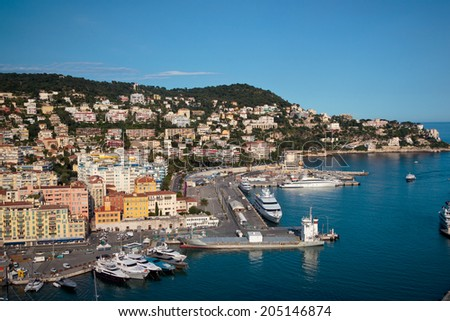 Harbor in Nice, France. View from Colline du chateau. - stock photo