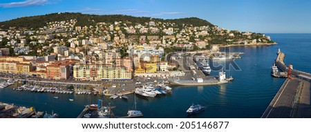 Harbor in Nice, France. View from Colline du chateau.