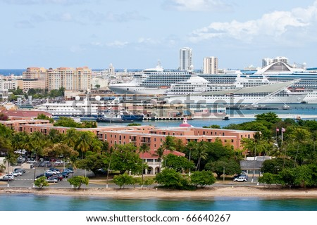Harbor in San Juan Puerto Rico with many luxury cruise ships large and small - stock photo