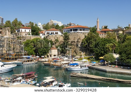 harbor in the old town of Antalya , Kaleici
