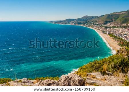 harbor of Alanya and Cleopatra beach, Antalya, Turkey - stock photo