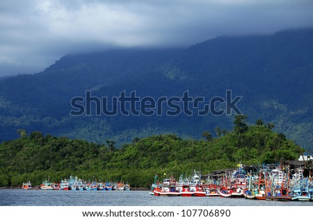 Harbor of Fishing boat in Thailand,Phangnga - stock photo