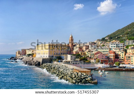 Harbor of Genoa Nervi in Liguria, Italy, on a beautiful sunny day in autumn