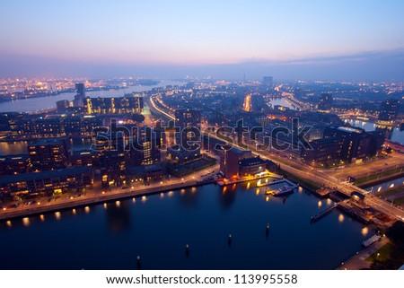 Harbor of Rotterdam at Night. - stock photo