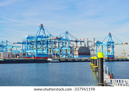 HARBOR OF ROTTERDAM, NETHERLANDS - SEPTEMBER 29, 2015: Fully computer controlled New APM container terminal at work in the port of Rotterdam.