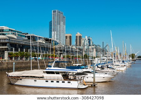 Harbor Puerto Madero Buenos Aires Argentine, skyline and ships