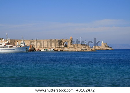 harbor Rhodes,St. Nicholas Fortress on city Rhodes island Rhodes, Greece