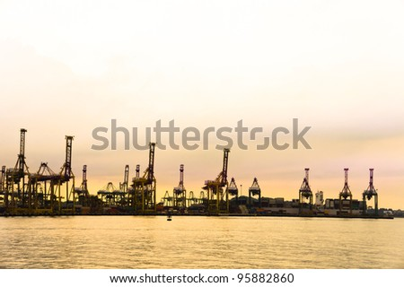 Harbor with a golden sunset view- Singapore. - stock photo