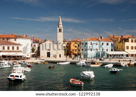 Harbor with boats in the city Fazana - Croatia