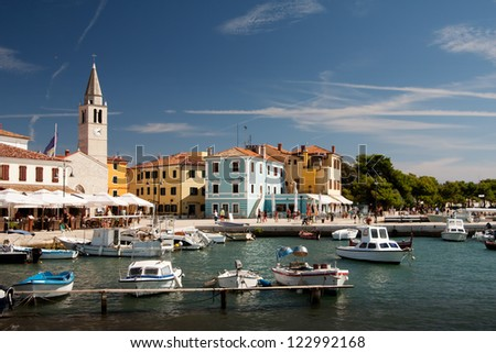 Harbor with boats in the city Fazana - Croatia - stock photo