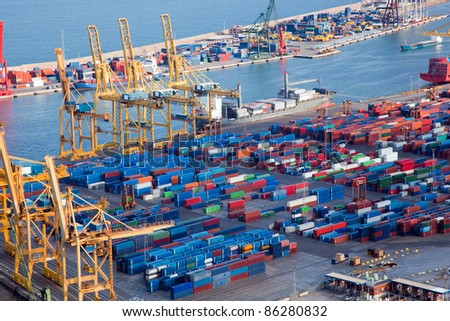 Harbor with lots of cargo. Industrial - stock photo