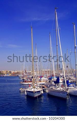 Harbor with pleasure boats - stock photo
