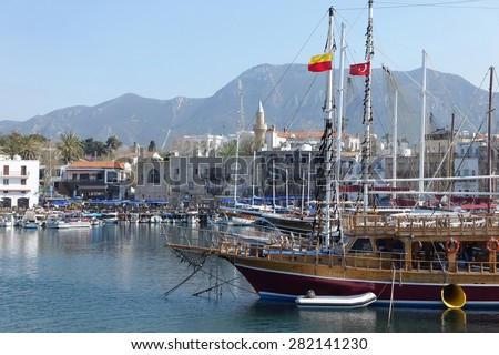 Harbor with ships of resort Kyrenia - Northern Cyprus