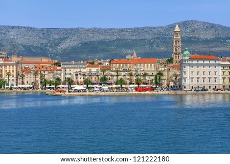 Harbour and promenade, Split town, Croatia - stock photo