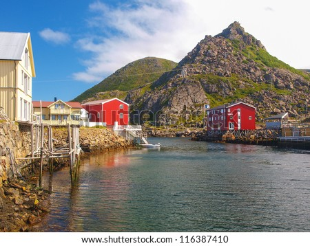 harbour boat house norway nyksund - stock photo