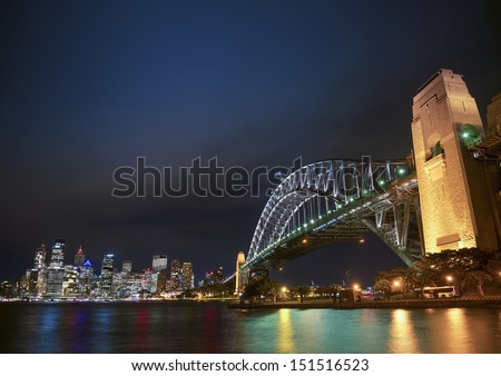 harbour bridge and skyline of sydney in australia at night