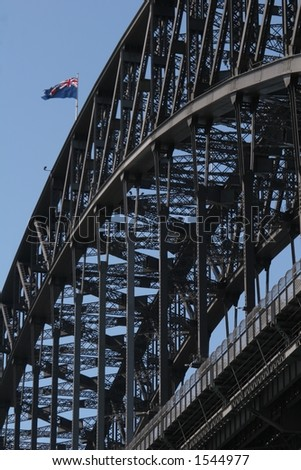 Harbour Bridge Detail with Australian flag - stock photo