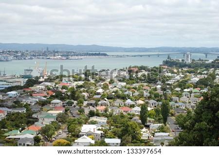 Harbour bridge view from Mount Victoria in Devonport (Auckland, New Zealand) - stock photo