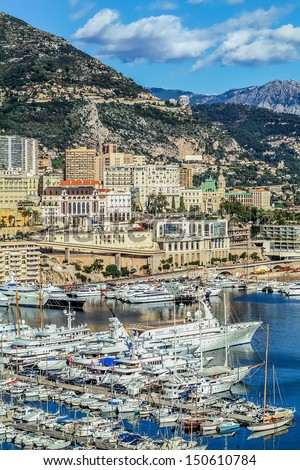 harbour city of principaute of monaco and monte carlo in the south of France - stock photo