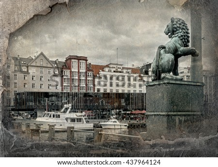 Harbour district of Bergen, Norway. Retro image in painting style    - stock photo