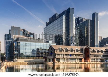 Harbour Exchange Square on South Quay part of the Canary Wharf complex - stock photo