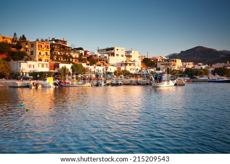 Harbour in Makri Gialos village in southern Crete, Greece.